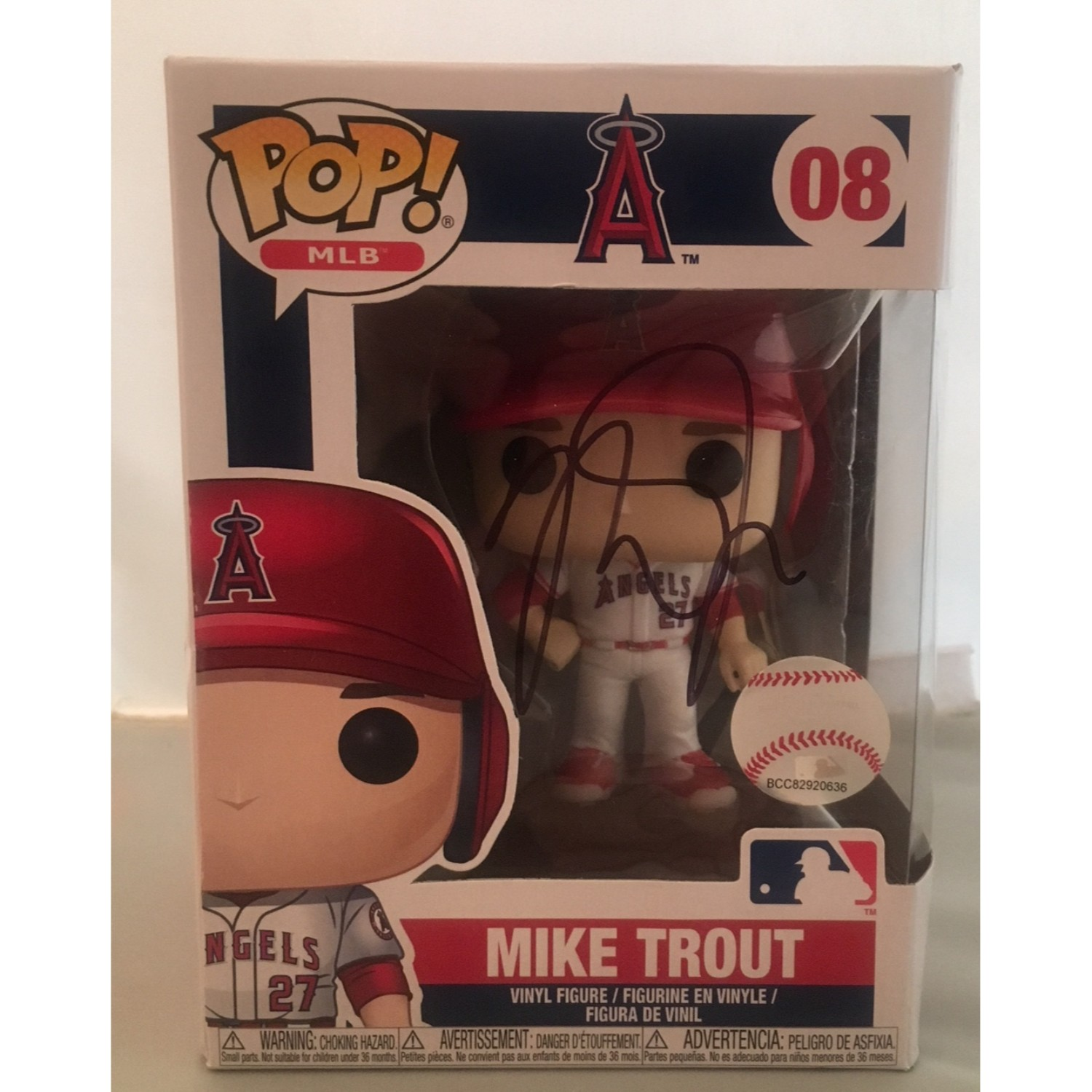 Mike Trout Autographed Los Angeles Angels Signed Baseball Funko Pop PSA DNA COA
