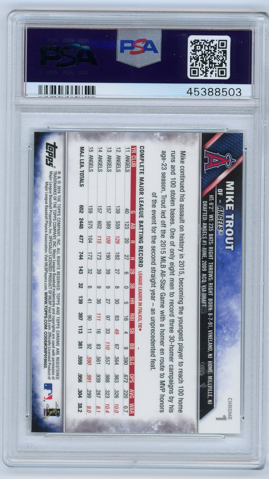 Mike Trout Los Angeles Angels 2016 Topps Chrome Jumping #1 Baseball Card Graded PSA 10 GEM MINT