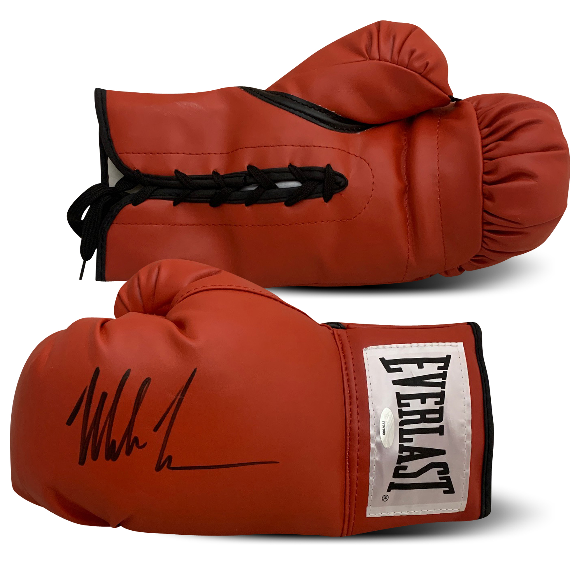 Mike Tyson Autographed Everlast Red Boxing Glove TRISTAR AUTHENTIC COA Boxing legend Mike Tyson has autographed this left handed boxing glove.  Item comes with 1 glove signed by Tyson in black.  Autograph is authenticated by TRISTAR. Item comes with TRISTAR's unique hologram # which is verified on their website. Once verified states the item and date that it was signed.