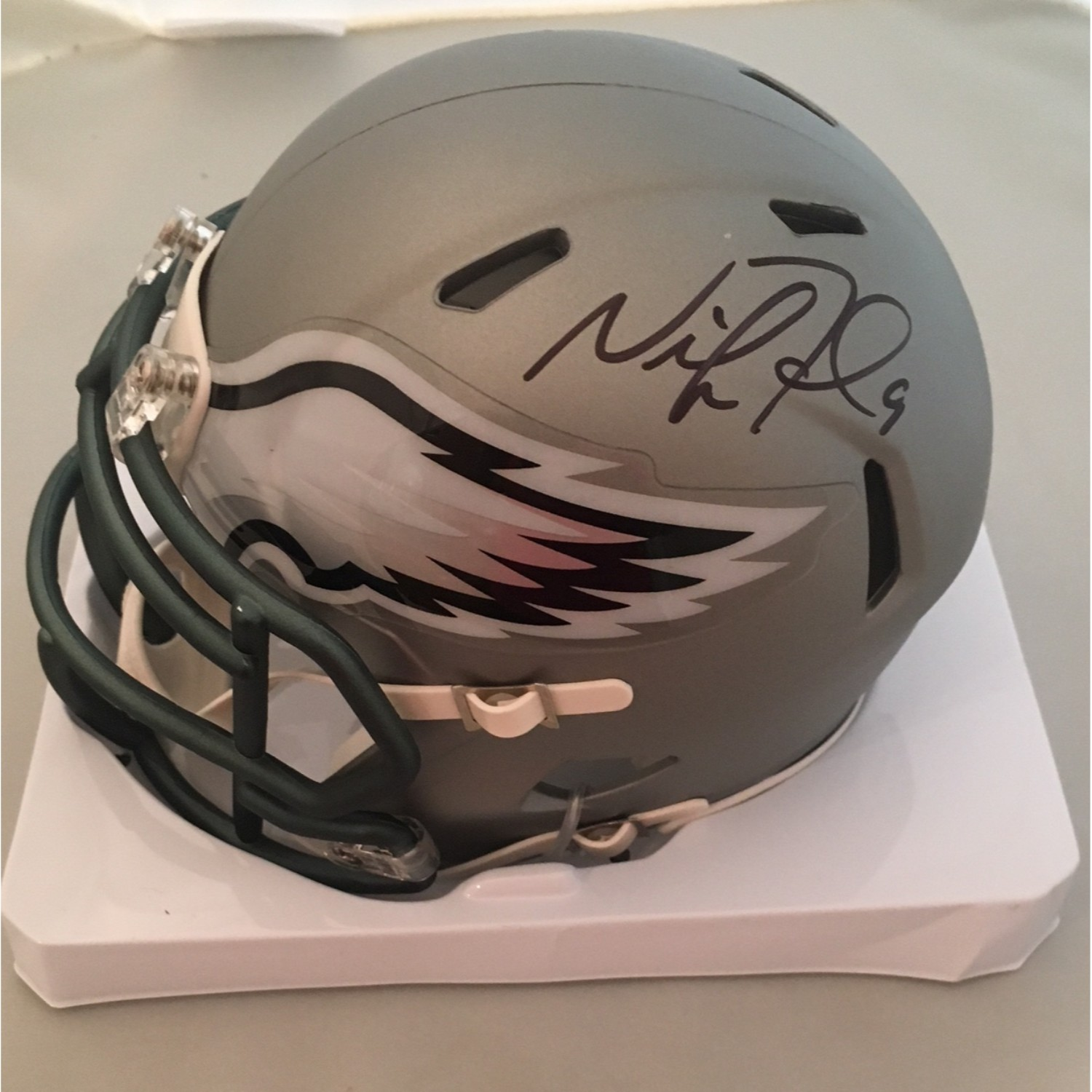 nick foles autographed eagles mini helmet