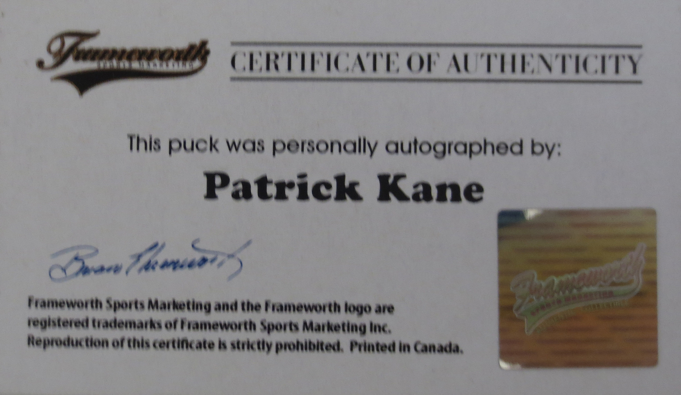 Patrick Kane Signed 2015 Stanley Cup Puck from Powers Autographs