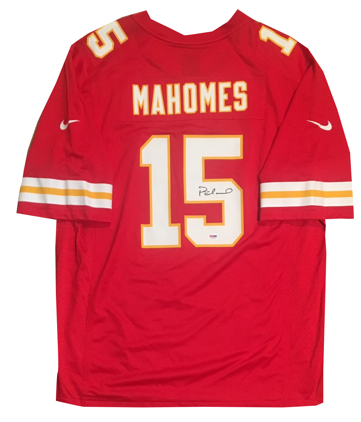 Patrick Mahomes Autographed Kansas City Chiefs Signed Nike Game Football Red Large Jersey JSA COA
