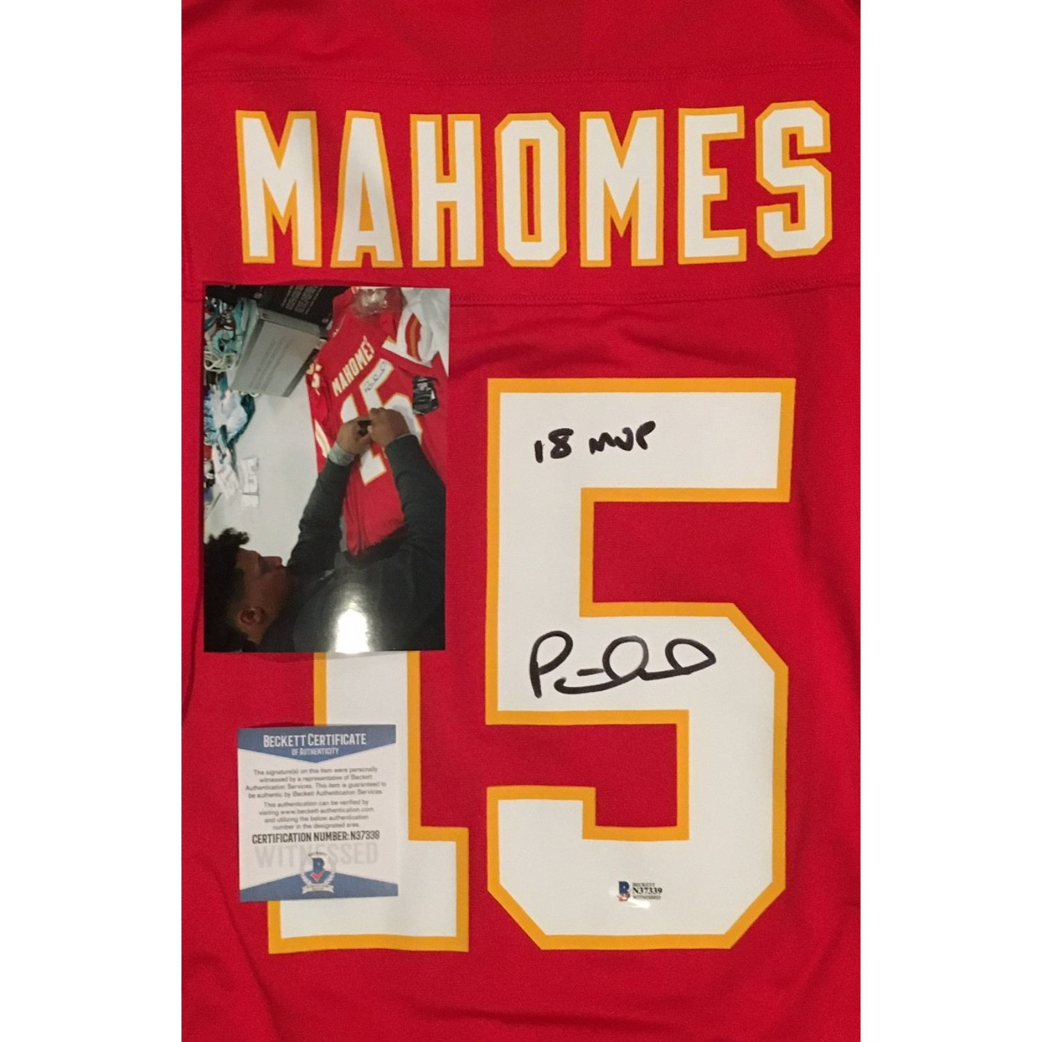 Patrick Mahomes Autographed Kansas City Chiefs Signed Nike Game Football Red XL Jersey 18 NFL MVP BAS Beckett COA