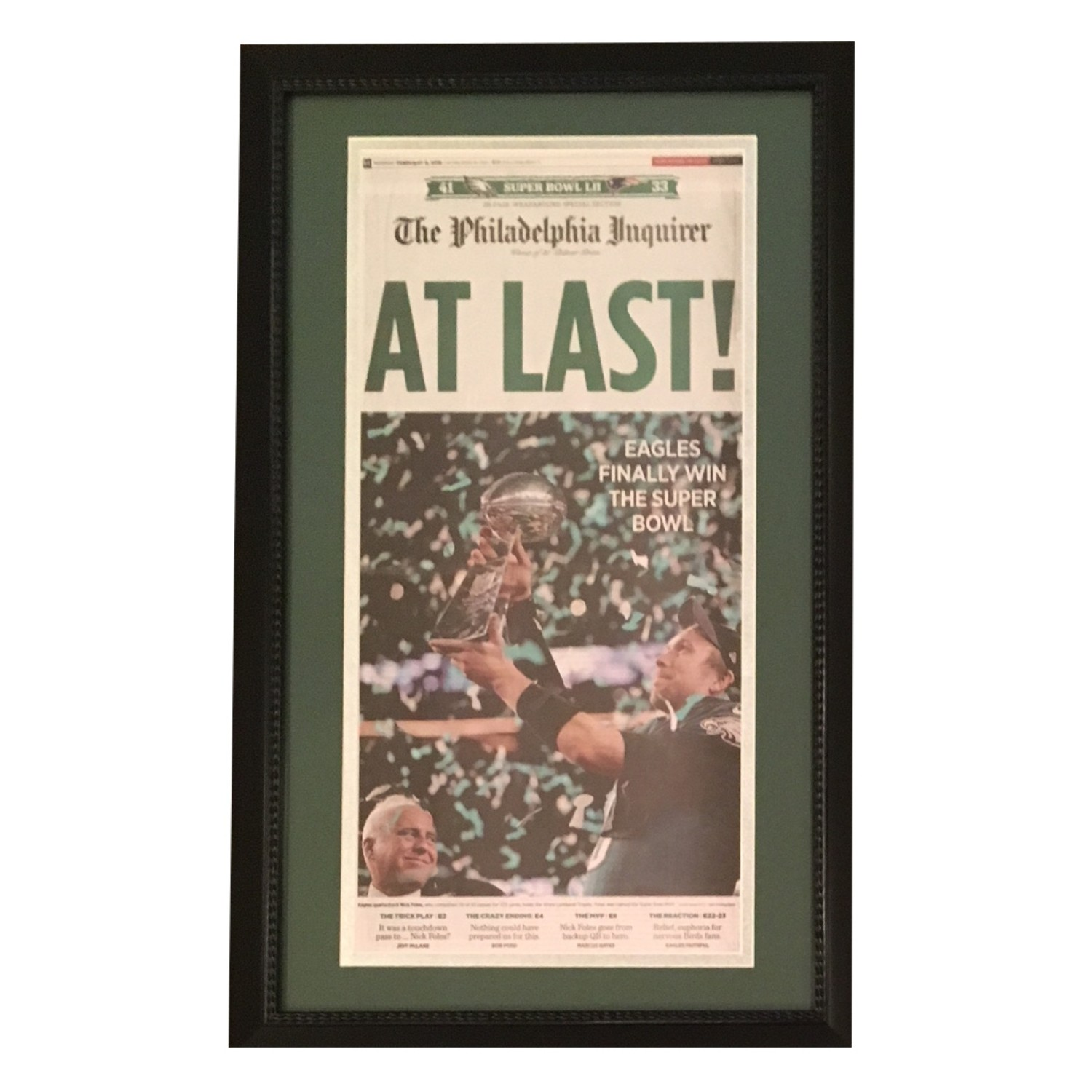 Philadelphia Eagles Super Bowl 52 LII Champions Inquirer AT LAST Framed Newspaper