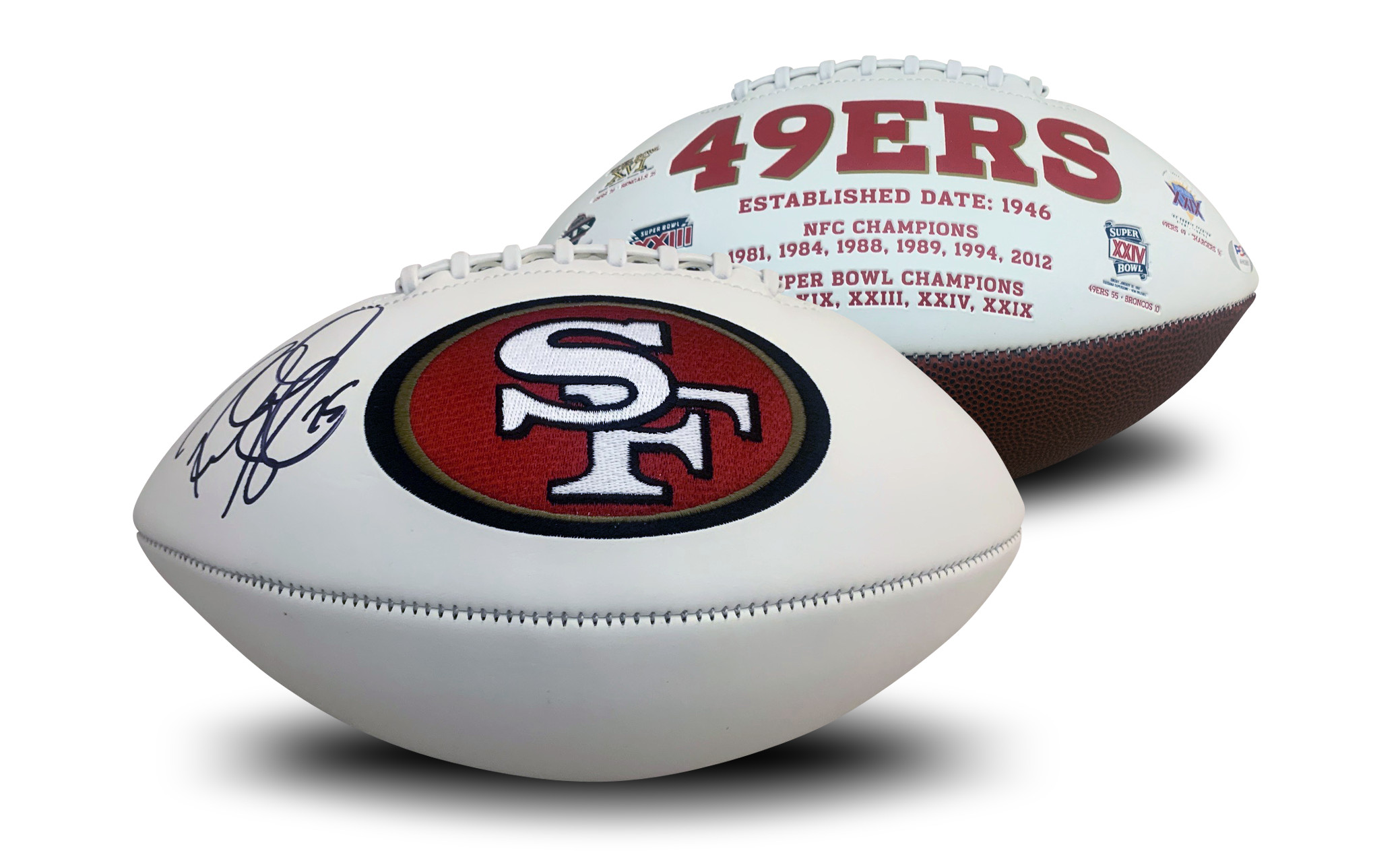 Richard Sherman Autographed San Francisco 49ers NFL White Panel Logo Signed Football PSA DNA COA 49ers star cornerback Richard Sherman has autographed this officially licensed 49ers full size logo football. Autograph is authenticated by PSA/DNA, the world's leading authenticator of sports autographs. Comes with their unique sticker # fixed to the item and verified on their website. Also, comes with their certificate of authenticity with same matching #.