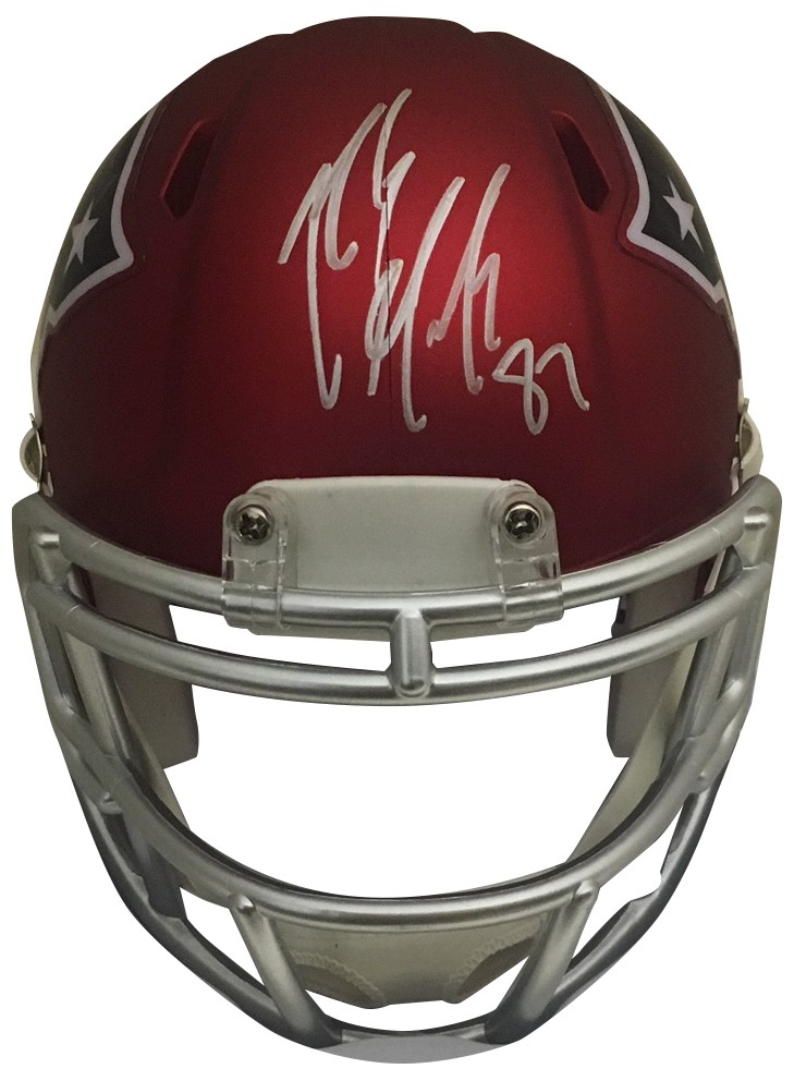 Rob Gronkowski Autographed New England Patriots Signed Blaze Football Mini Helmet PSA DNA COA