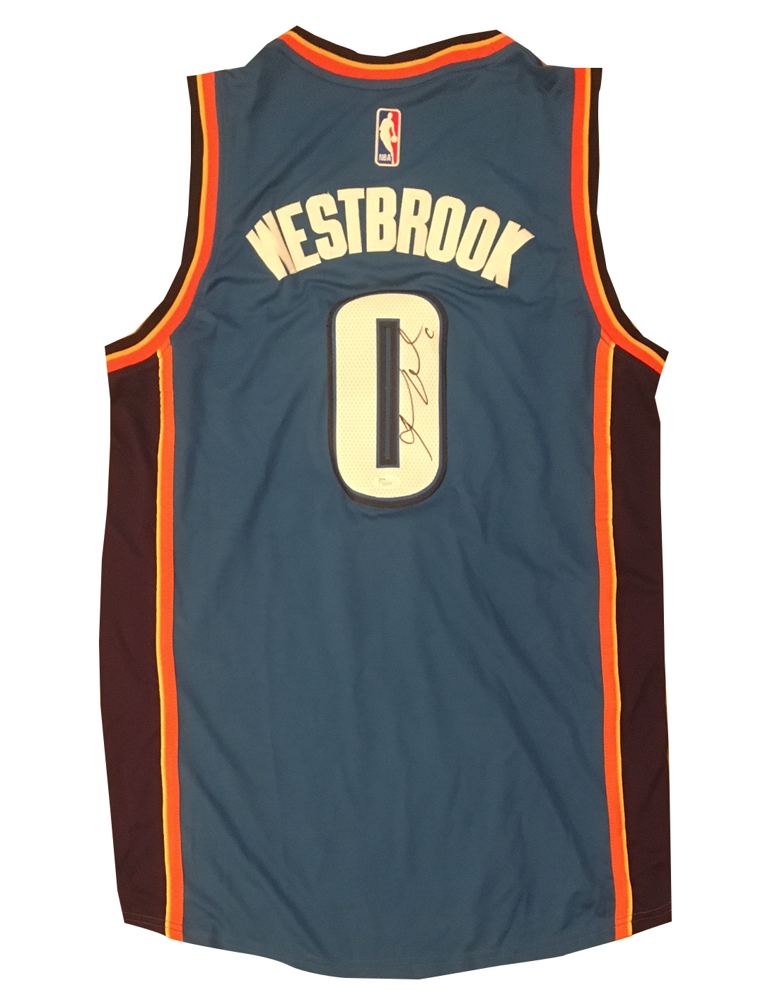 Russell Westbrook Autographed Thunder Signed Basketball Jersey JSA COA 1