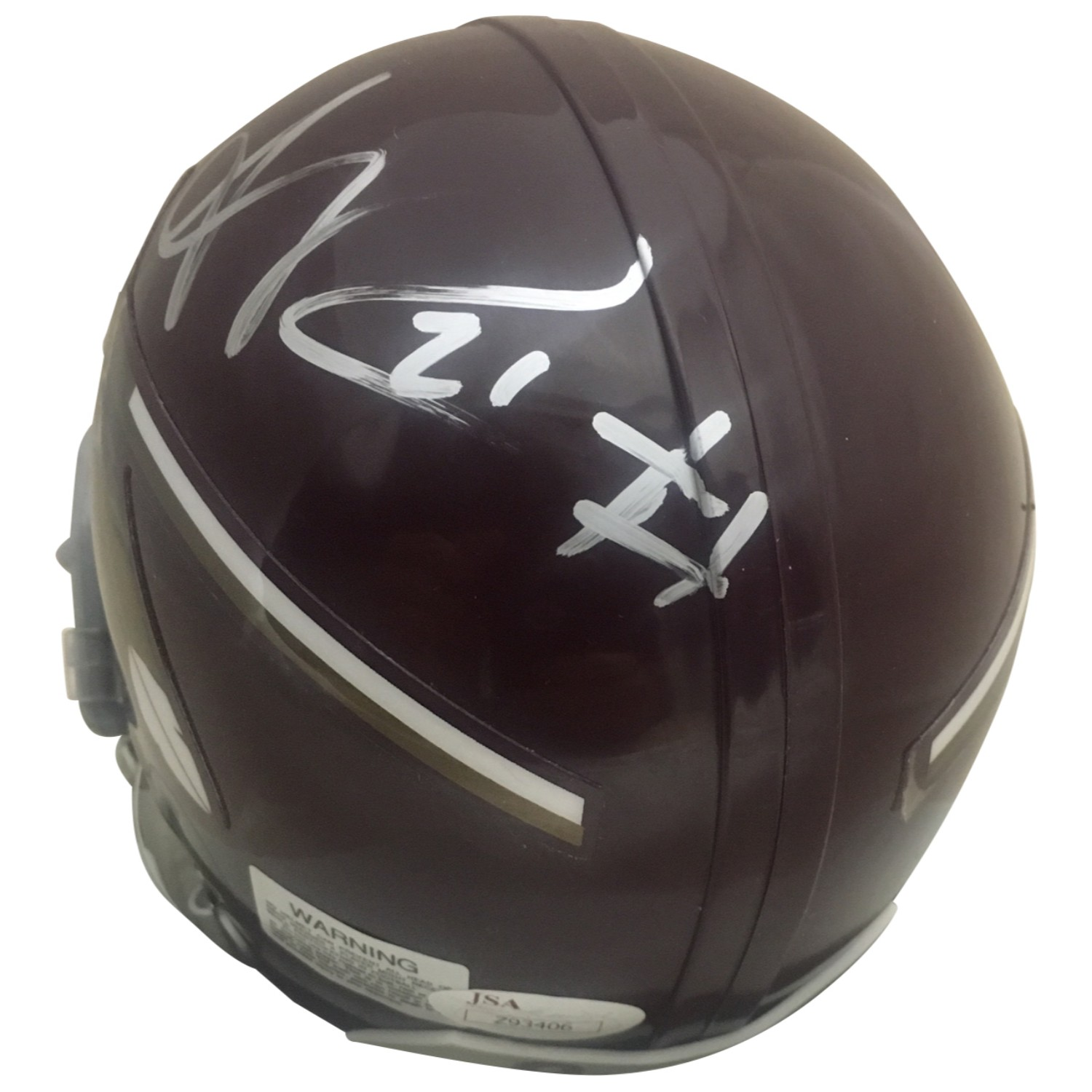 Sean Taylor Autographed Washington Redskins Signed Throwback Football Mini Helmet JSA COA Former Washington Redskins Pro Bowler Sean Taylor has autographed this officially licensed Redskins throwback mini helmet.  Since his tragic death at such a young age, his autographed collectibles are very tough to come by.  Autograph is authenticated by James Spence Authentication (JSA), the world's leading authenticator of sports autographs. Comes with their unique sticker # fixed to the item and verified on their website. Also, comes with their certificate of authenticity with same matching sticker #. Receive exact item shown.  Mini helmets measure about 6x5x4.""