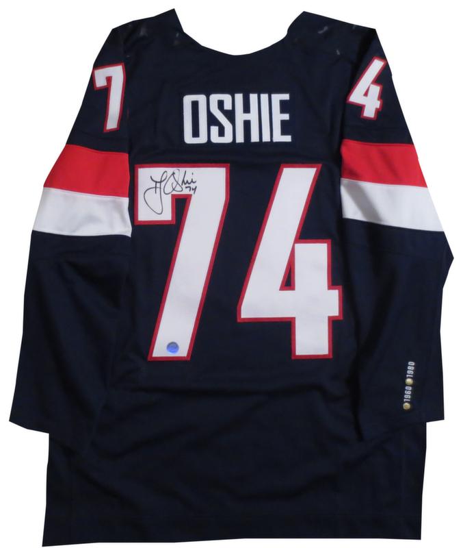 e5902f52238 T.J. Oshie Autographed Team USA Olympic Hockey Signed Nike Jersey - OSHIE  HOLOGRAM