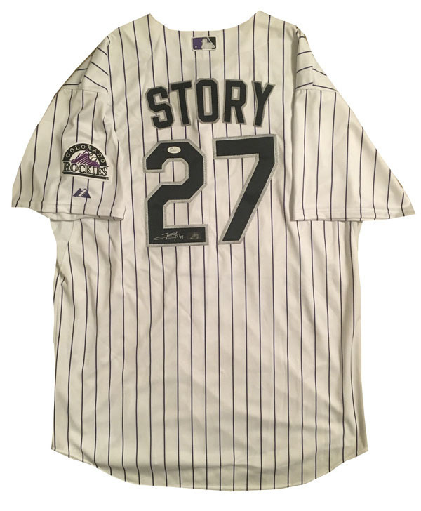 Trevor Story Autographed Colorado Rockies Authentic Signed Baseball Jersey JSA COA 2