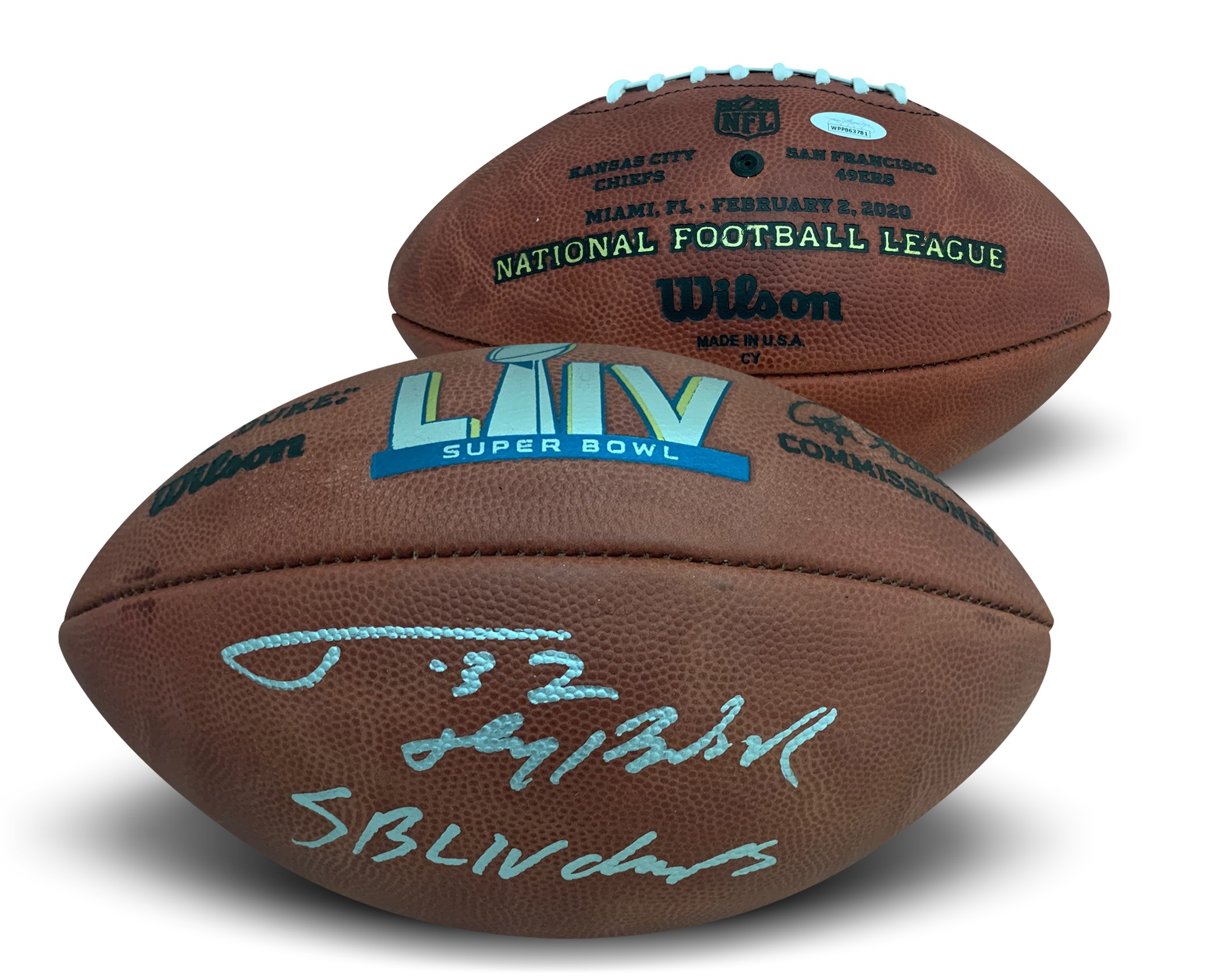 "Tyrann Mathieu Autographed Kansas City Chiefs Super Bowl LIV 54 Signed Authentic Football Honey Badger JSA COA Whoa!!! What is this???  Super Bowl 54 Champion and leader of the Kansas City Chefs defense Tyrann Mathieu has autographed this officially licensed Super Bowl 54 football (same ones used in the game, not game used) and written SB LIV CHAMPS and his nickname HONEY BADGER. Autograph and inscriptions are authenticated by James Spence Authentication (JSA). Comes with JSA certificate of authenticity and matching sticker verified on their website. JSA is one of the world's leading authenticator of autographs. It is a ""witness"" COA, meaning a representative from JSA was present for the signing with him and witnessed him signing your item. Signed on 5/28/20 in Kansas City, MO."