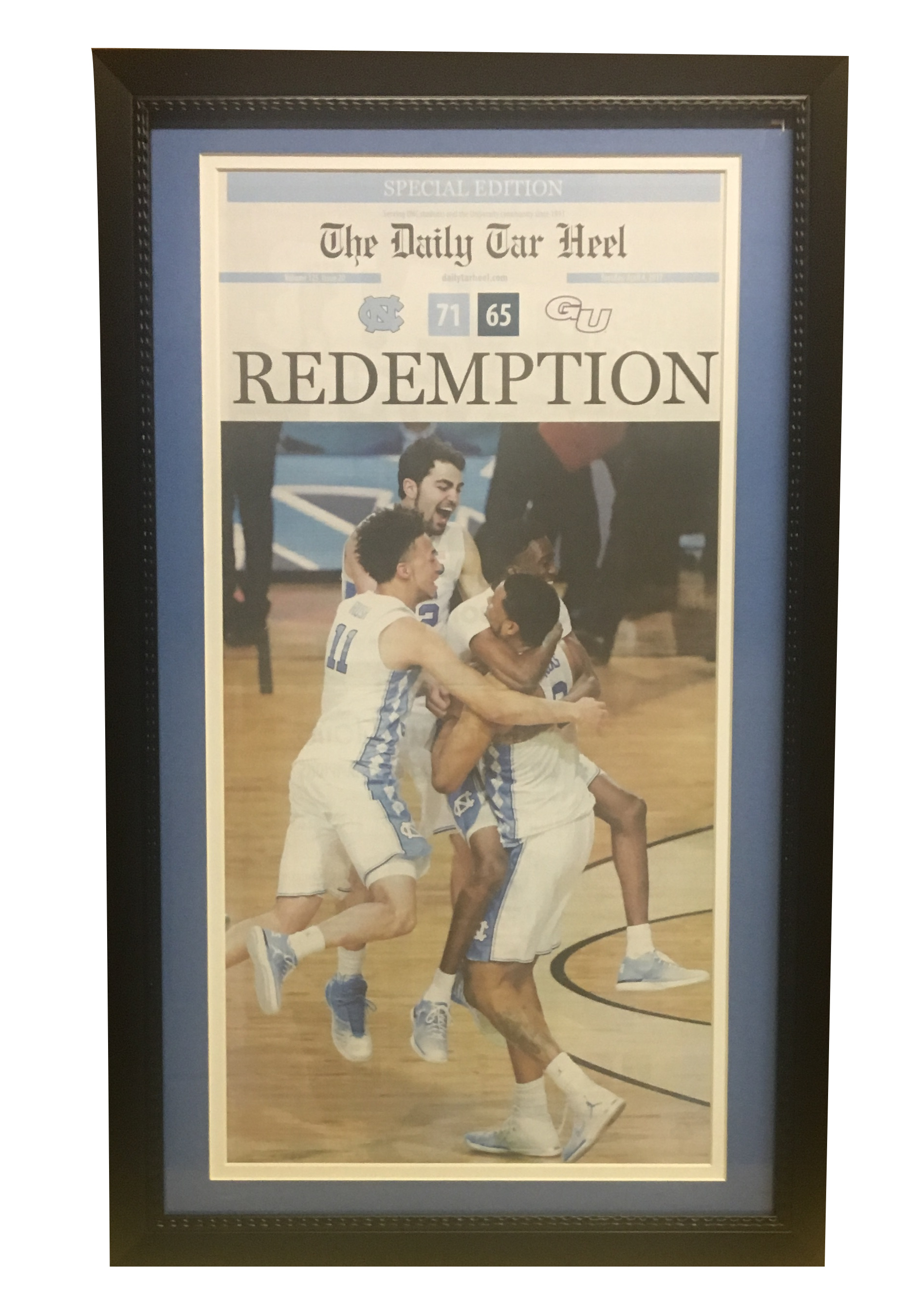 North Carolina 2017 National Championship Daily Tar Heel UNC Framed Basketball Newspaper Front Page