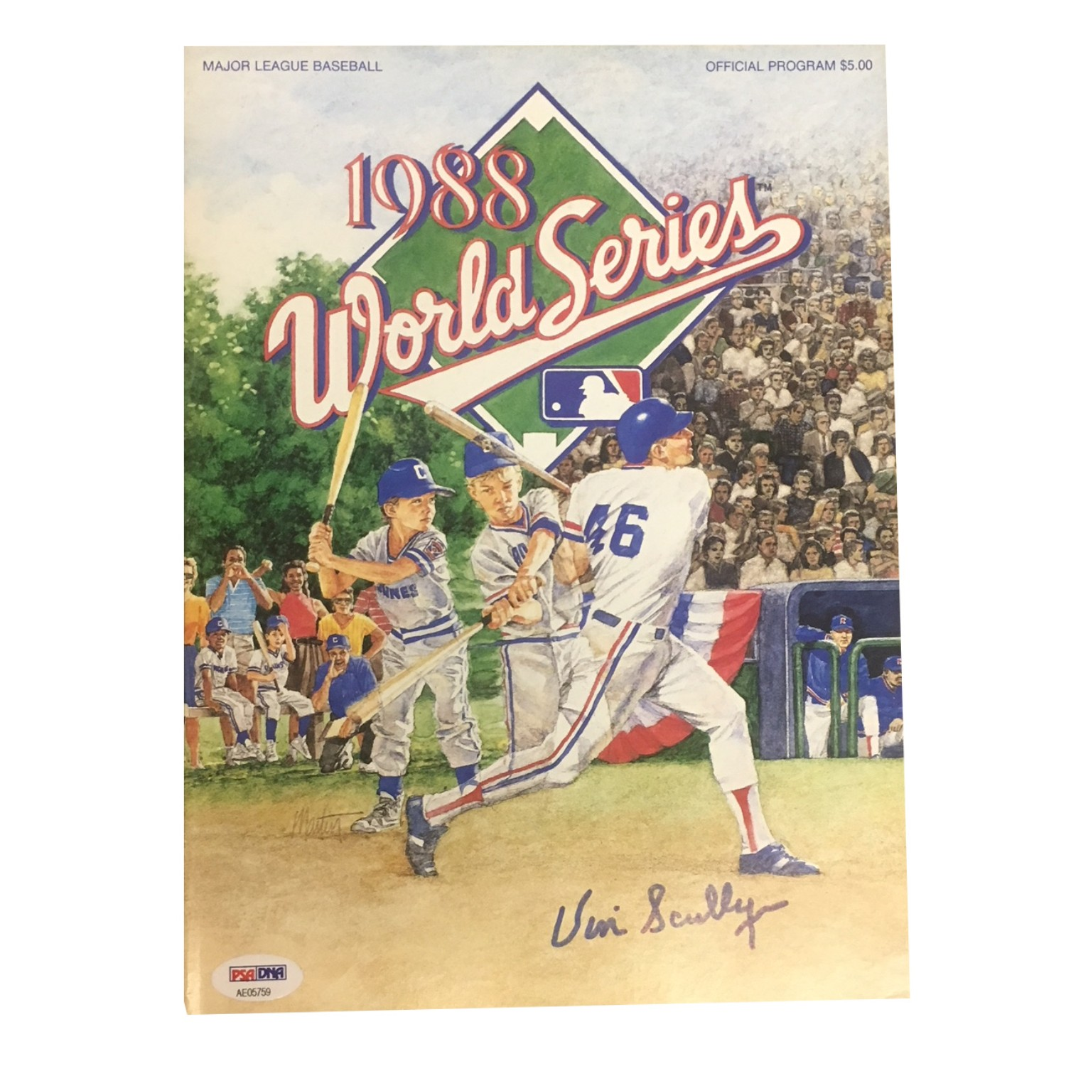 vin scully autographed 1988 world series program from powers autographs