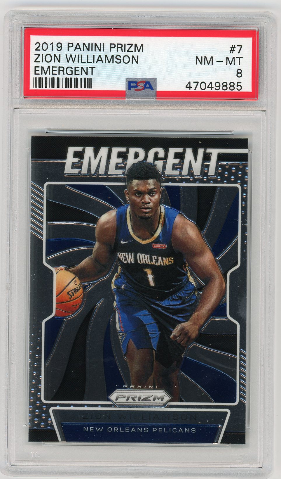Zion Williamson New Orleans Pelicans 2019 Panini Prizm Emergent Basketball Rookie Card RC #7 Graded PSA 8 Zion Williamson New Orleans Pelicans 2019 Panini Prizm Emergent Basketball Rookie Card RC #7 Graded PSA 8