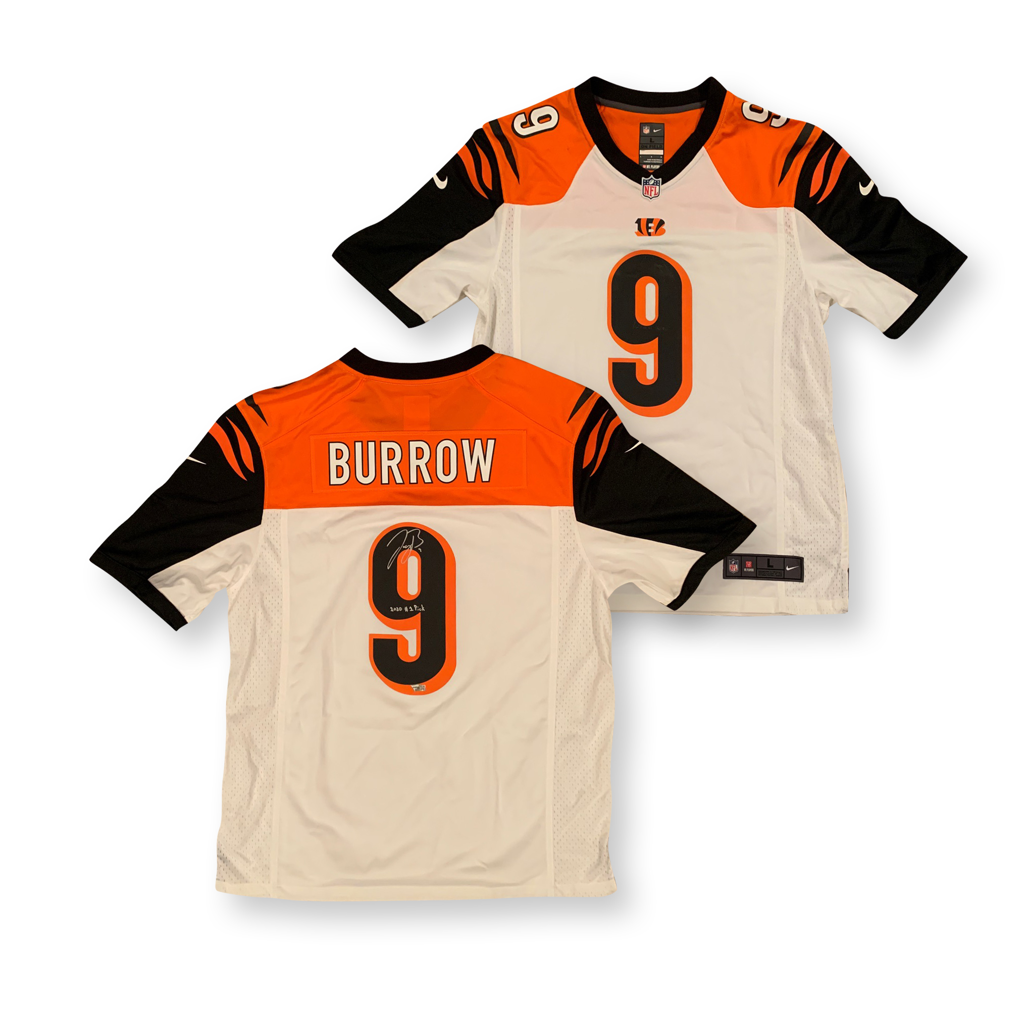 Joe Burrow Autographed Cincinnati Signed White Game Football Jersey 2020 1st PICK Fanatics Authentic COA Bengals 2020 #1 overall pick and former LSU quarterback and 2019 Heisman Trophy winner and National Champion Joe Burrow has autographed this official Bengals Game jersey and written 2020 #1 PICK.  Jersey is a size L. Name and numbers screened on. Autograph is authenticated by Fanatics Authentic who has Burrow as their exclusive memorabilia client. Item comes with their unique hologram # on the item that is verified on their website. 100% authentic.