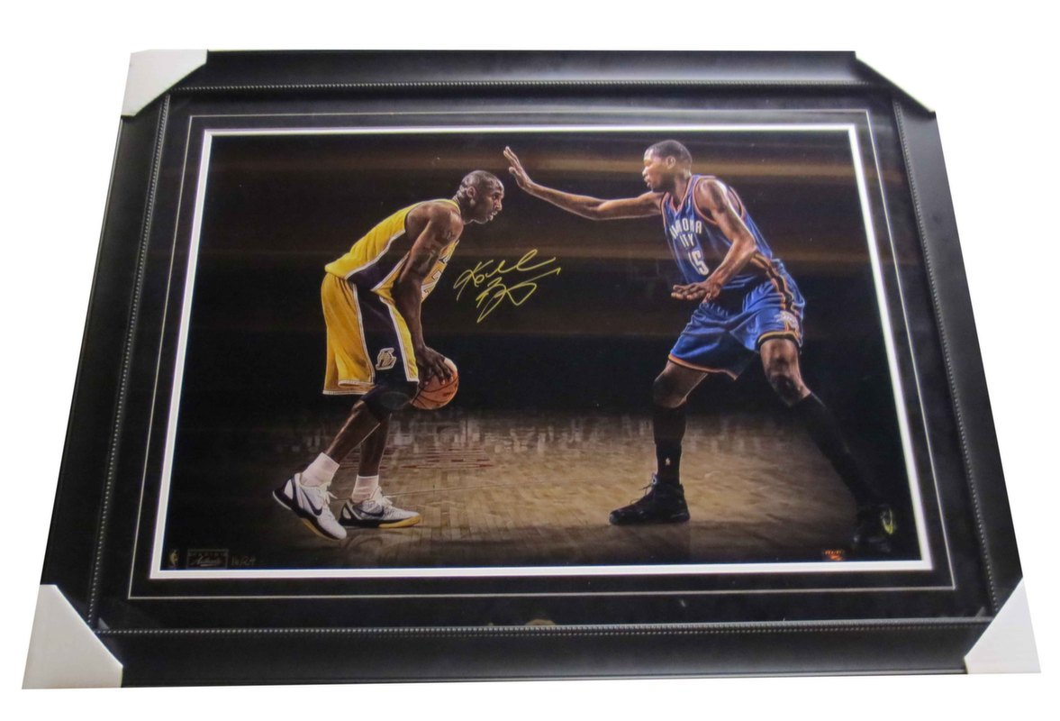 Kobe Bryant Autographed Lakers Signed 20x30 Framed Photo W Kevin Durant Le To 24 Panini Coa