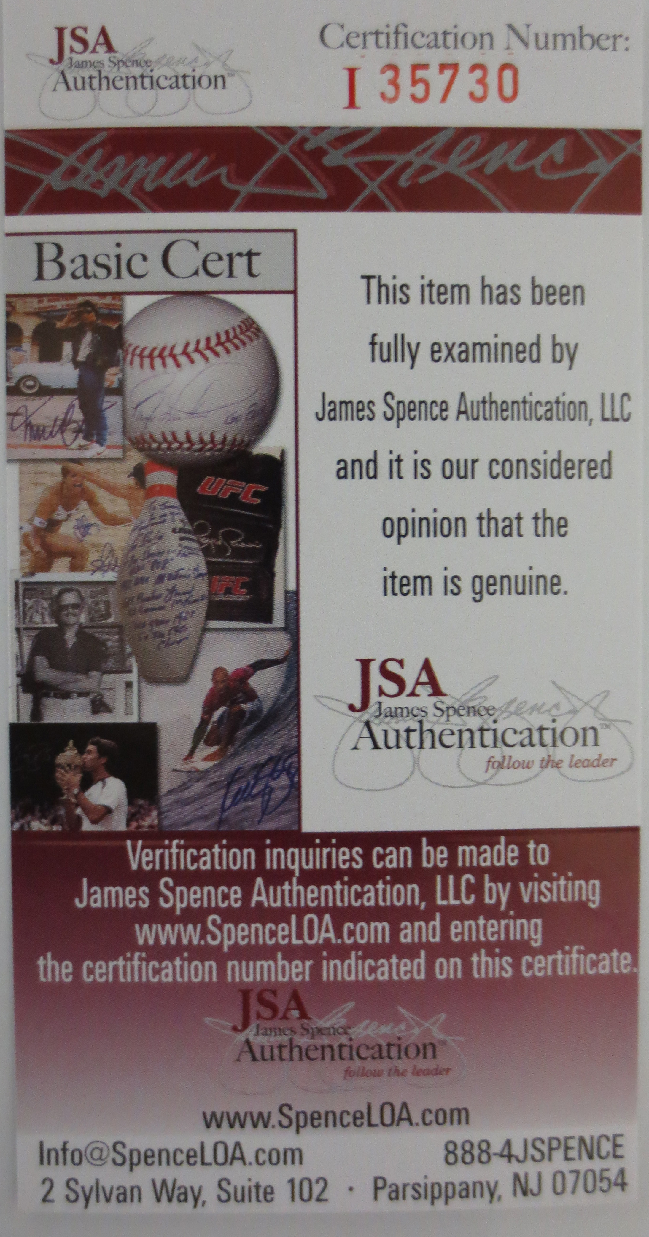 Powers Autographs proudly sells authentic autographed memorabilia from JSA.