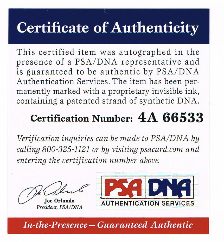 Powers Autographs proudly sells authentic autographed sports memorabilia from PSA DNA.
